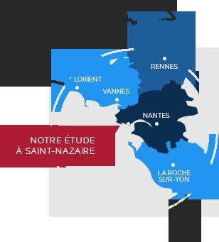 zone d'intervention de la SAS GELLARD S. - PENVERN L. - FEDRYNA D. Huissiers de Justice à SAINT-NAZAIRE en Loire Atlantique (44)